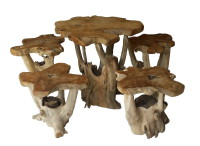 Set of 4 stools and table made of teak root.