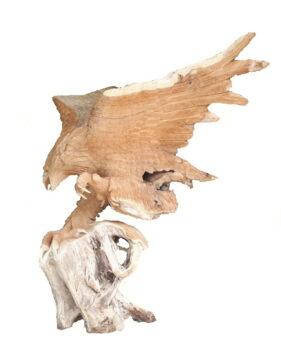 Teak root eagle statue B